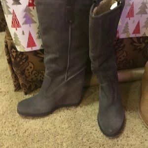 Grey Suede Boots with heel. Brand  new never worn